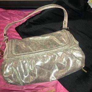 Gold metallic leather Fendi baguette bag